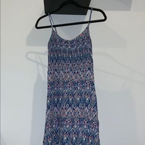 blue and pink patterned dress
